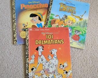 Walt Disney Stories - Little Golden Books - Three Classic Vintage Childrens Books - Pinocchio, 101 Dalmatians, Rescuers Down Under