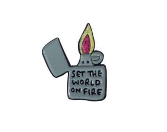 Set The World On Fire Lighter Soft Enamel Glitter Pin Badge
