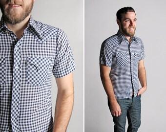 Jahrgang blau-weiß karierte Druckknopf Hemd - Taste bis gewebt Land Kurzarm westlichen Rodeo Cowboy Retro Sommer Oxford - klein