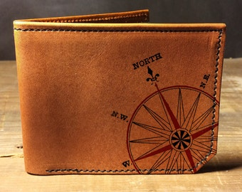 wallet - leather wallet - mens wallet - mens leather wallet - Compass wallet - 0015