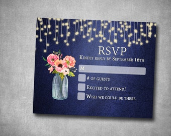 RSVP Wedding Insert Response Card Navy Coral Pink Peach Floral Mason Jar String Lights  Rustic Barn Printable Digital I Customize For You