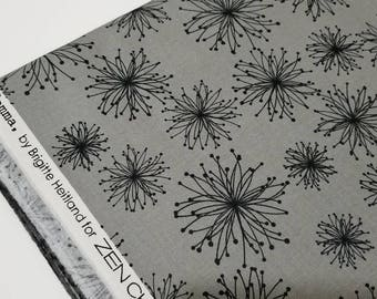 Zen chic grey with black #1512 Comma cotton quilting fabric BTHY hard to find