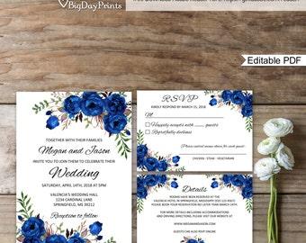 Blue wedding invite Etsy