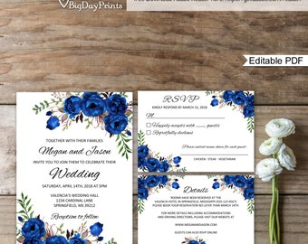 Blue Wedding Invite Etsy - Wedding invitation templates: wedding invitation suite templates