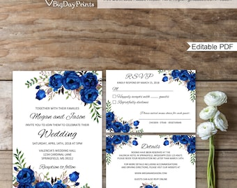 Blue wedding invite etsy blue wedding invitation template royal blue wedding invitation boho chic wedding invitation suite filmwisefo Gallery