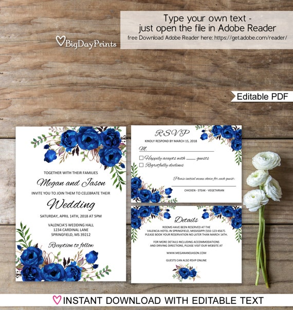 Blue Wedding Invitation Template Royal Blue Wedding