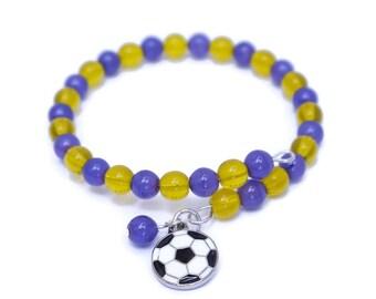 Team Soccer Gifts - Soccer Mom - Bracelet for Women Bangles - Game Day - Soccer Bracelet - Sports Gifts for Mom - Beaded Wrap Bracelets