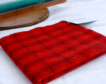 "Hand dyed wool fabric - over dyed wool - ""Seeing Red"" plaid - rug hooking - appliqué - penny rugs - wool crafting projects -"