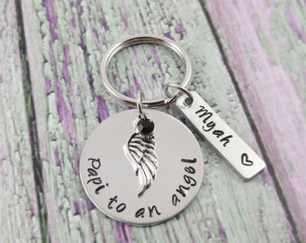 Papi To An Angel - Custom Memorial Keychain - Infant Loss - Miscarriage - Angel Wing Keychain - Memorial Jewelry - Funeral Gift
