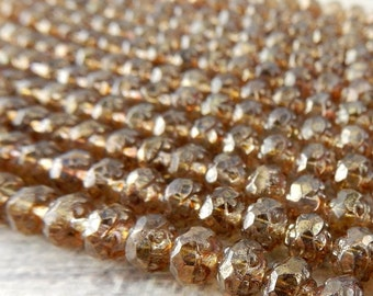 Luster Transparent GOLD SMOKEY TOPAZ Small Faceted Rosebud Beads, Czech Glass Beads 5x6mm Qty 25 Rose Bud Beads