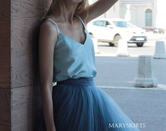 """Tulle skirt with matching lining, fixed waistband with hidden zipper (color """"Grey-blue"""")"""