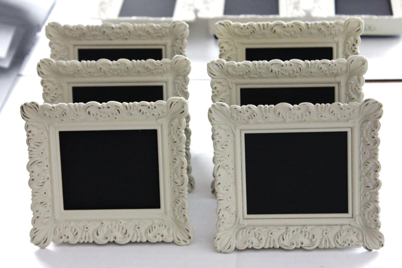 Set of 10 Mini VINTAGE STYLE FRAMES Ivory White Place Card