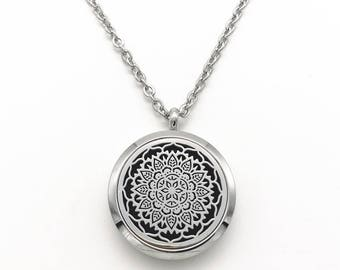 Mandala Aromatherapy Stainless Steel Necklace