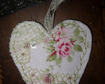 Shabby Pink Rose Barkcloth Vintage Lace Collage Heart Ornament A