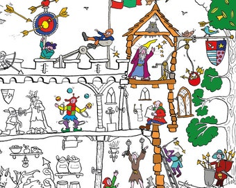 Medieval Castle Colouring Poster