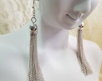 Vintage Silver Tassel Pierced Earrings