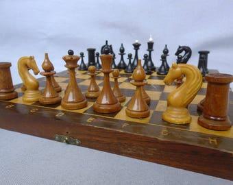 "Traveling Chess Soviet / Classic Staunton Figures /Wooden Box 11,6-11,6"" in. / Wooden Figures / Soviet Vintage / 1970's"