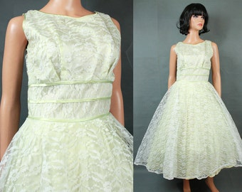 50s Prom Dress S Vintage White Pale Green Lace Tea Length Party Wedding Gown Free US Shipping
