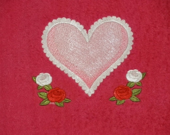 Designer Hand Towel, HEART AND ROSES, Embroidered, Velour Hand Towel, Terry Cloth Hand Towel, Gift Item