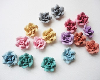 2 ROSE BEADS, cold porcelain rose, clay rose bead, flower bead, handmade flower beads, jewelry rose beads, handmade rose beads, jewelry bead