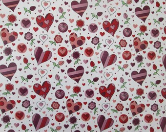 Waterslide decals, fused glass ceramics transfer, red pink hearts and flowers, craft supplies, kiln craft, fusible glass art decal, wedding