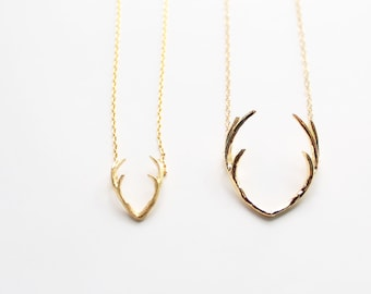 Antler Necklace In Gold Silver Rose Gold, Horn Necklace, Choker Necklace, Deer Antler Charm, Reindeer, Deer Head Necklace, Layering Necklace