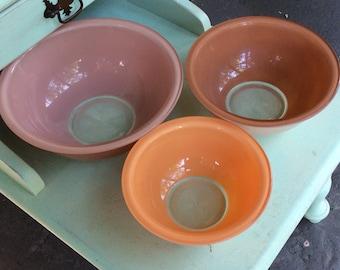 Pyrex Autumn Rainbow Pastel Mixing Bowls Set of 3 Clear Bottom Bowls
