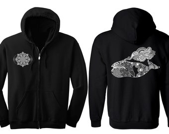 COLOSSAL WHALE Hoodie Men's and Women's Humpback Geometric Mandala Black Hooded Sweatshirt Sacred Geometry