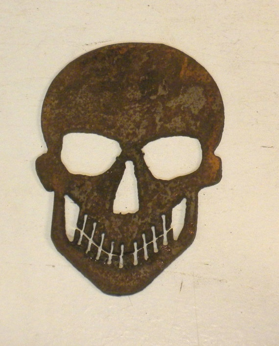 4 pulgadas cráneo oxidado áspero Metal acero pirata motero arte ...