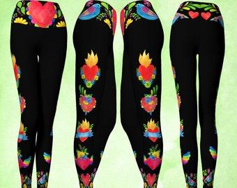 Yoga Pants, Foldover Waist, Sacred Heart Leggings, Sacred Heart, Flying heart, Cute leggings, colorful leggings, gypsy leggings, boho pants