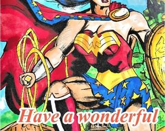 Wonder woman birthday card. Dc comics.  Dc universe.  Greeting card.  Blank card. Homemade.  Birthday card