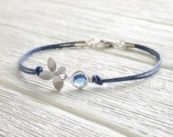Midnight Bloom Bracelet - September Birthstone - Silver Flower Bracelet - Navy Blue - Gift for Her - Thank you Mom - Plant Mom
