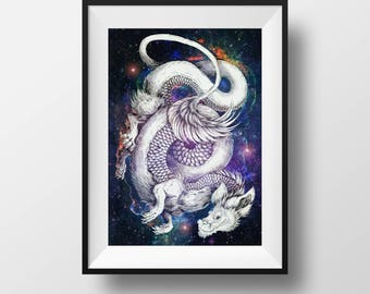Large A3 Print - Luck Dragon - Falkor - Fuchur - Eastern - Chinese - Space - Galaxy - Stars - Purple - Glow - Fantasy