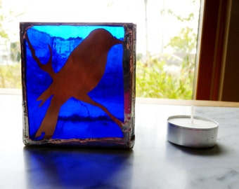 Blue Bird Box - Stained Glass Tea Light Candle Holder