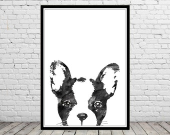 French Bulldog, French Bulldog peeking, Frenchie, watercolor art print, animal painting, home decor, watercolor dog, animal art, dog