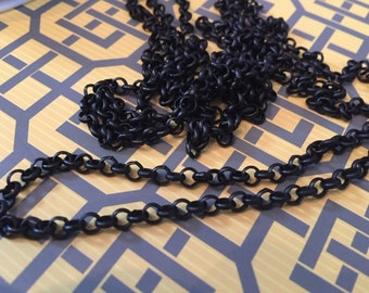 High quality solid brass PETITE 4mm ROLO chain matte BLACK plating  1 foot