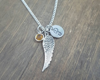 Guardian Angel Wing Necklace - Hand stamped Monogram Angel Wing Necklace - Initial, Birthstone Necklace - Infant Loss Necklace - Remembrance