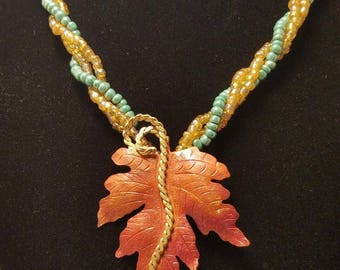Copper Oak Leaf Beaded Necklace