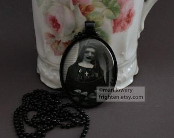 Creepy Halloween Jewelry, Zombie Nun Pendant with Long Black Ball Chain, Halloween Necklace, frighten