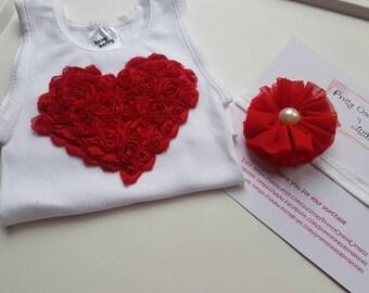 Valentine's Day Top Girls Love Heart Cake Smash Baby Girl Size 00 Singlet Hand Embellished Flower Red Headband Gift Present Baby Shower