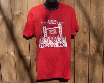80s Troma Inc crew shirt - Vintage I Made The Team tshirt - Screen Stars Toxic Avenger
