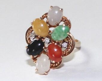 7size Diamond Jade Floral Ring 14k yellow gold - sku 5214PN