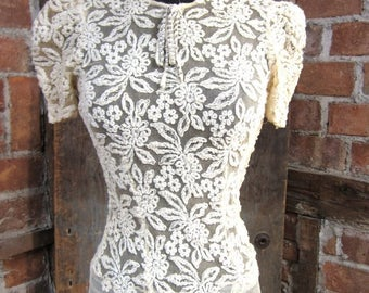 On Sale Vintage 1930's Wedding Dress. Lace soutache Top and Rhinestone. Wedding Gown Dress .Old Hollywood-Formal-Cocktail-Prom-Party  XS 436