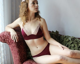 bamboo triangle bralette with lace trim - CATHEDRAL lingerie range - made to order