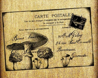 Mushrooms and French France Postcard Vintage Digital Image Transfer Download 300 dpi for Pillows Totes Bags Napkins Towels