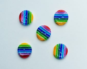 set Rainbow buttons 12mm, resin, set 5, 10, 15 or 20