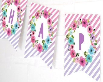 Unicorn Birthday Party Happy Birthday Banner - Unicorn Party Decorations - Unicorn Banner - Instant Download and Edit with Adobe Reader