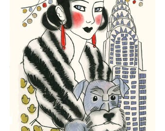 Dog Art print - Rachel and Rudy and New York - 4 for 3 SALE