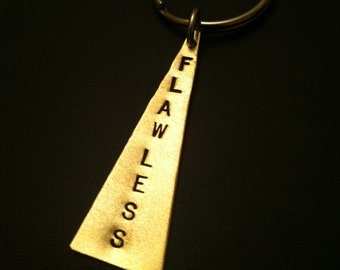 Flawless Keychain, Bow Down Bitches, I Woke Up Like This, Triangle Key Ring, Queen Bey, Silver Pendant, Best Friend Gift, Stamped Jewelry