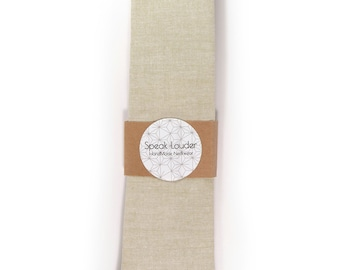 Khaki chambray necktie - Wedding Mens Tie Skinny Necktie - Laid-Back necktie